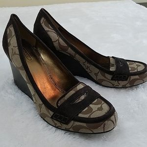 Coach Nela Sz 9.5 Penny Loafer Wedges